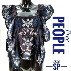Free people black floral Embroidered ruffle top